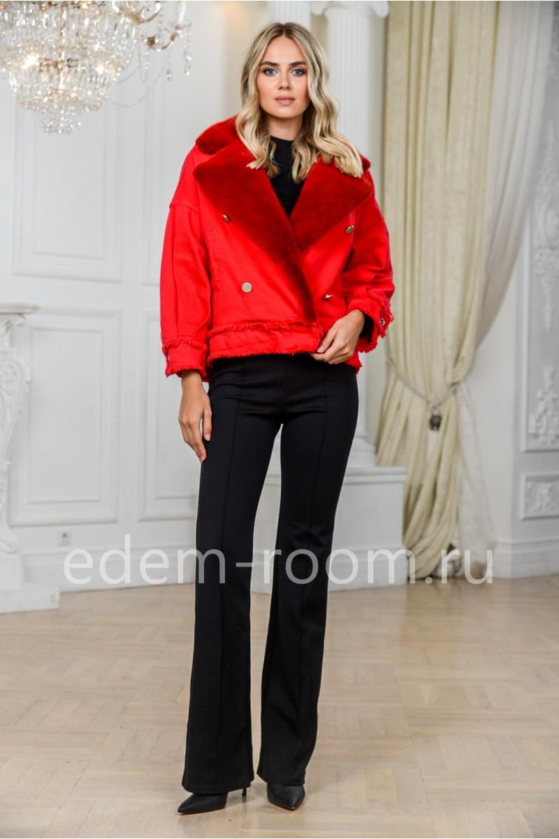 Красная джинсовка с мехом норки