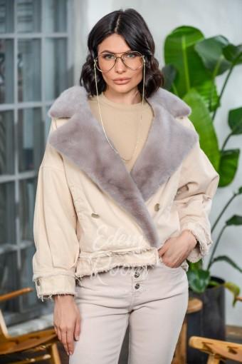 Джинсовая куртка с норковым воротником