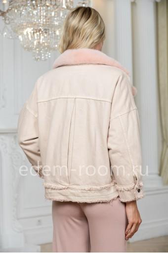 Джинсовая куртка - косуха с мехом норки