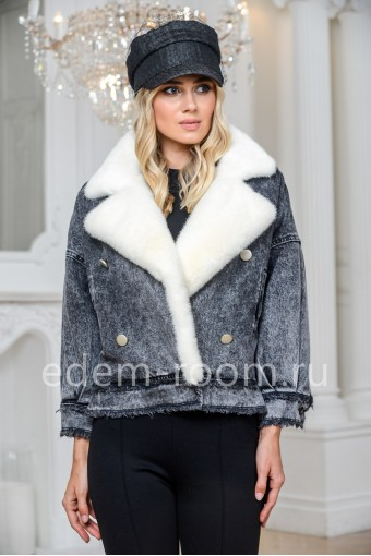 Утеплённая джинсовая куртка с мехом норки