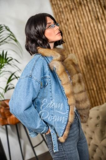 Утеплённая джинсовка с мехом куницы