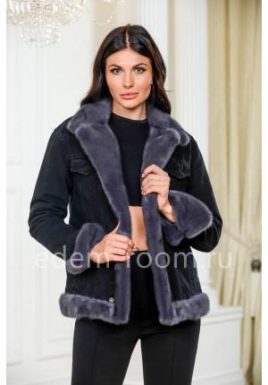 Теплая джинсовая куртка с норкой