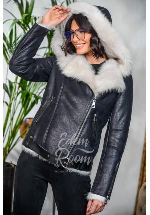Куртка - дублёнка Авиатор с капюшоном