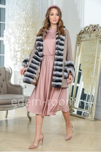 Вязаное пальто -кардиган с мехом шиншиллового кролика