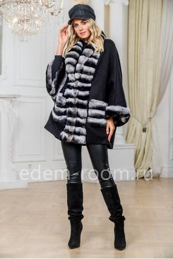 Пальто - кардиган с мехом