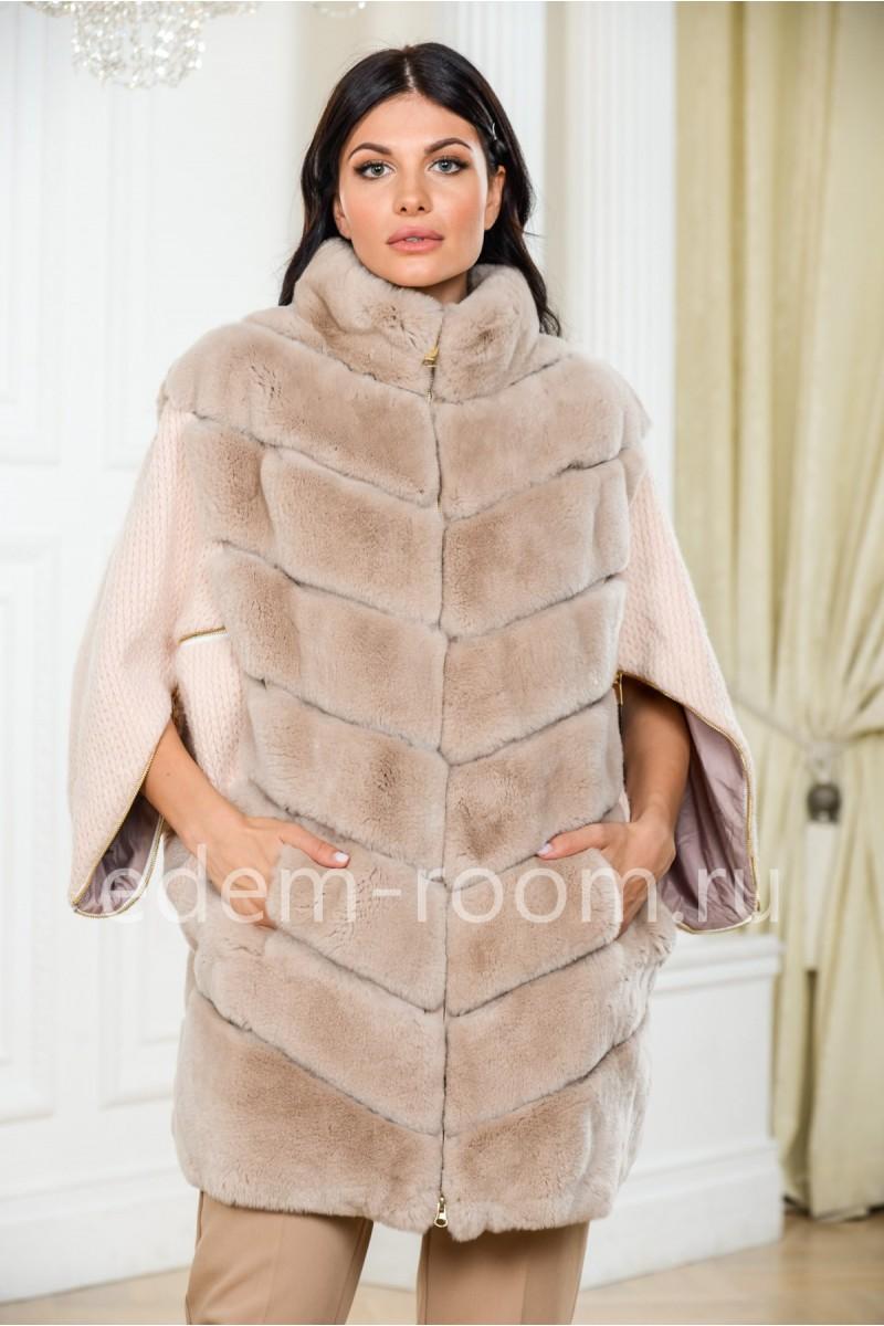 Вязаное пальто спереди  мех кролика рекс