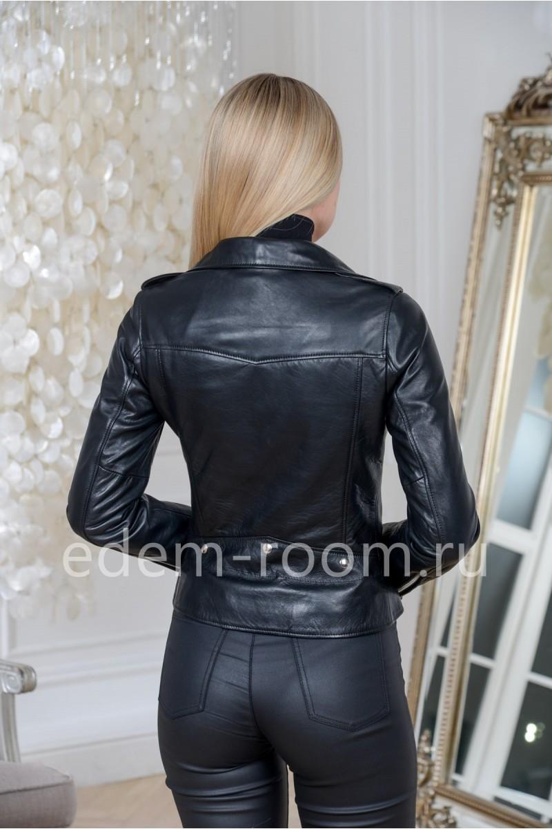 Турецкая куртка из натуральной кожи черного цвета укороченная