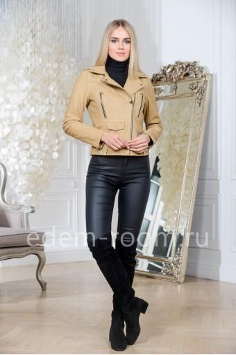 Турецкая куртка из натуральной кожи укороченная