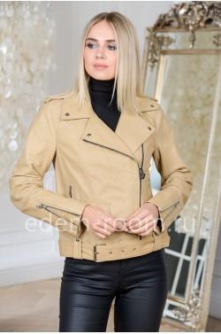 Куртка из натуральной кожи бежевого цвета из Турции