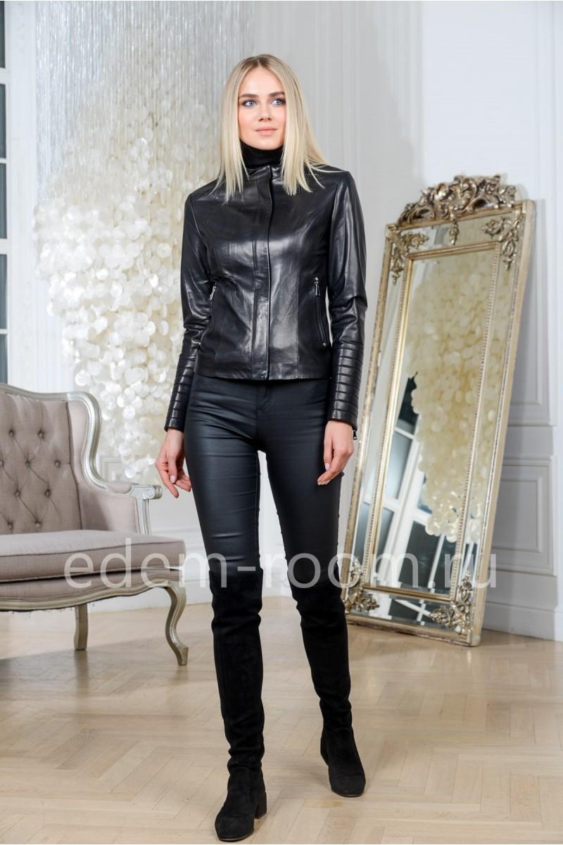 Куртка черная из натуральной кожи для девушек, укороченная