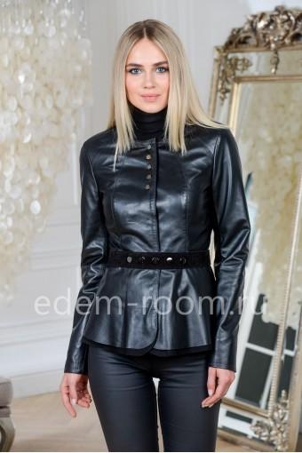 Модная куртка кожаная из Турции, цвет черный