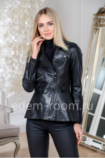 Куртка из натуральной кожи приталенная из Турции, черная