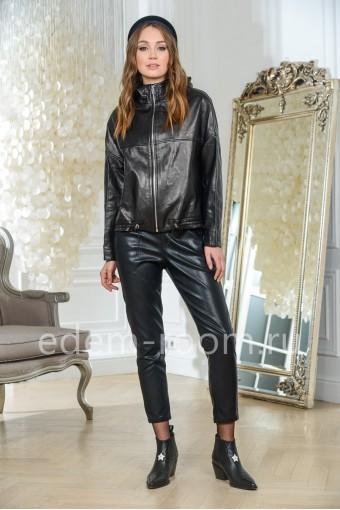 Куртка из кожи молодежная свободного кроя, черная