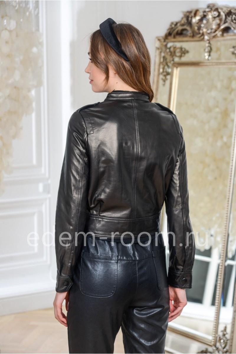 Куртка из натуральной кожи на резинке, черный цвет