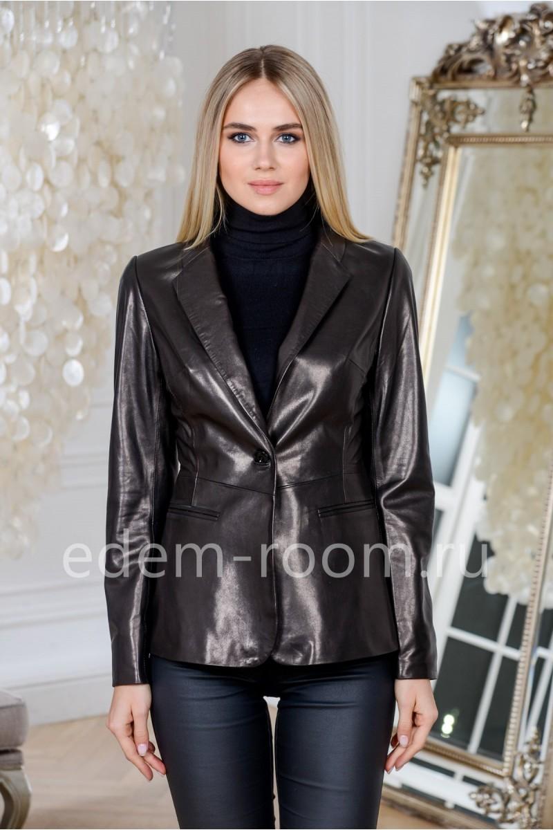 Пиджак кожаный черного цвета