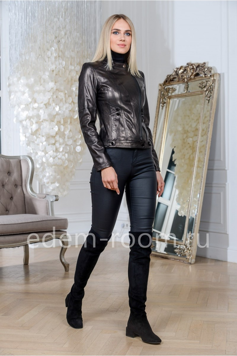 Куртка элегантная из натуральной кожи на весну, черная, укороченная
