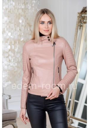 Куртка из натуральной кожи укороченная пудрового цвета