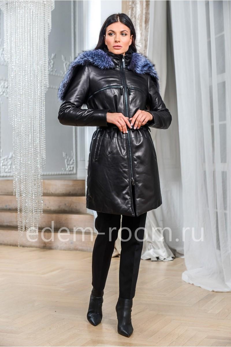 Модный кожаный пуховик с меховым капюшоном