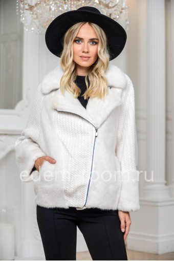 Куртка из норки и вязаной шерсти