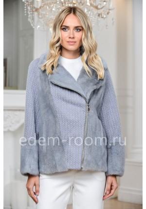Норковая куртка - пончо на молнии