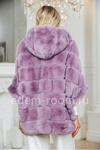 Куртка - пончо из кроликас капюшоном