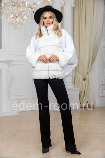 Белая куртка из кролика и трикотажа
