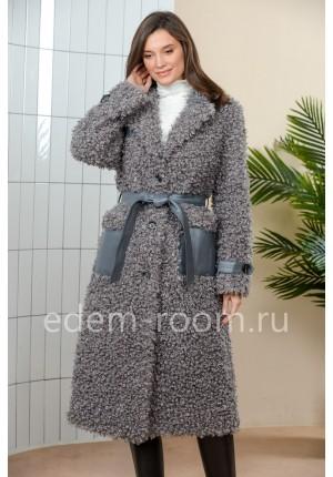 Современное пальто из экомеха