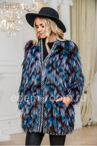 Облегчённое пальто из меха лисы