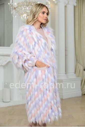 Пальто из меха лисы на трикотаже