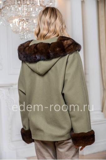Пальто - пончо с капюшоном из норки