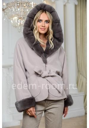 Пальто - пончо с мехом норки