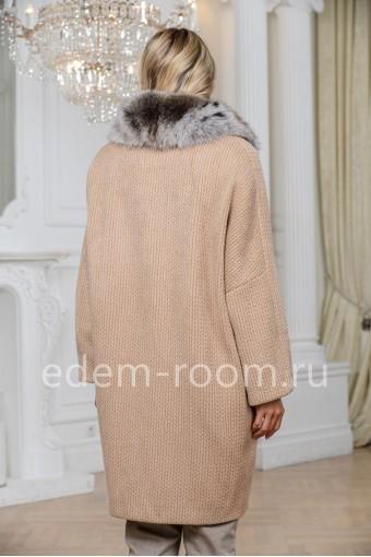 Пальто -кардиган из шерсти с мехом песца