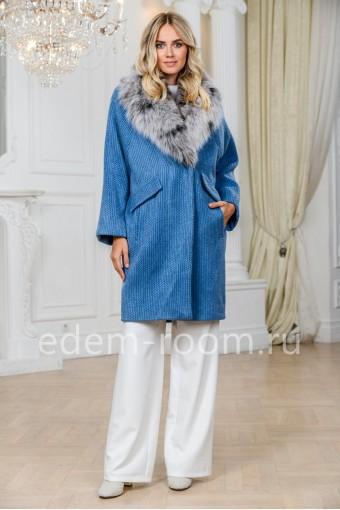 Шерстяное пальто - кардиган с меховым воротником