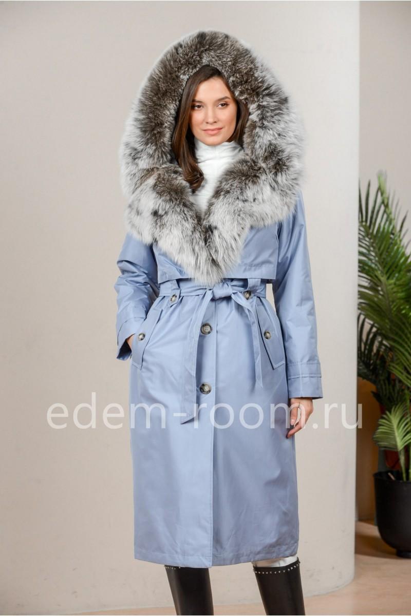 Парка - пальто с меховым капюшонм из песца