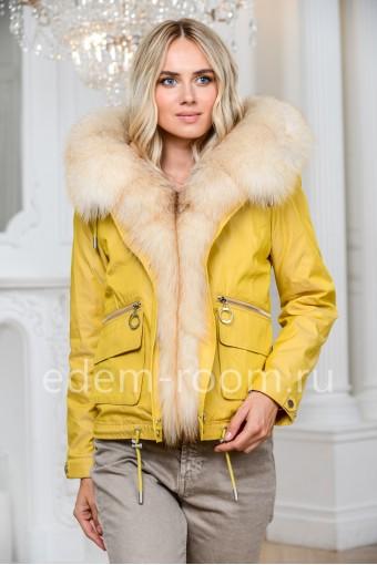 Куртка бомбер желтая с мехом лисы