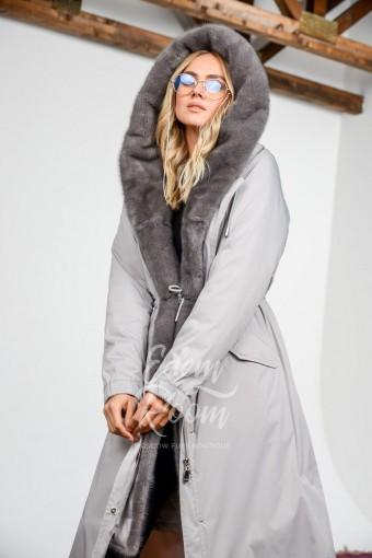 Парка - пальто с капюшоном из норки