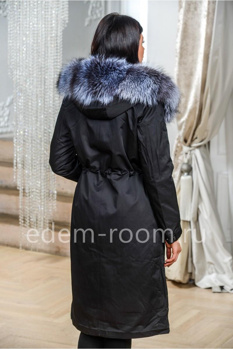 Чёрная парка - пальто с капюшоном кобра