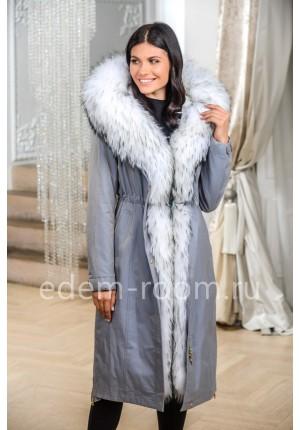 Светлая Парка- Пальто с белым мехом