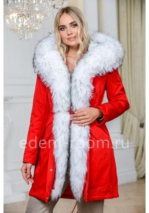 Парка RED с мехом белого енота
