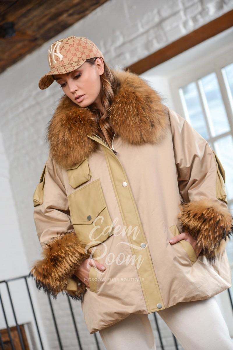 Куртка - пуховик с мехом енота