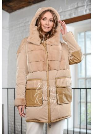 Куртка - пуховик комбинированная мехом норки