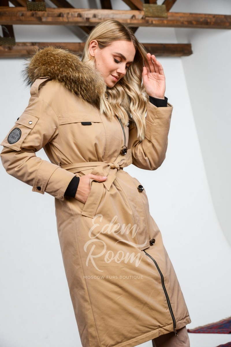 Пальто с мехом на экопухе