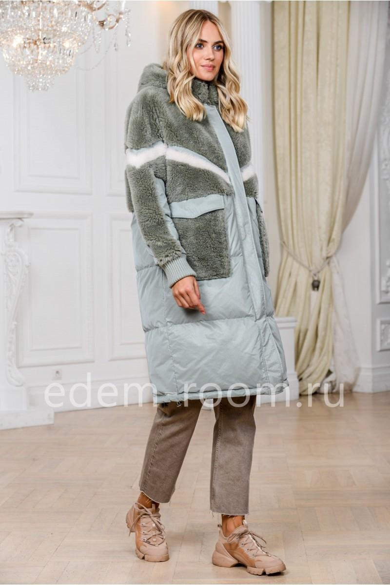 Пуховое пальто комбинированное шерстью