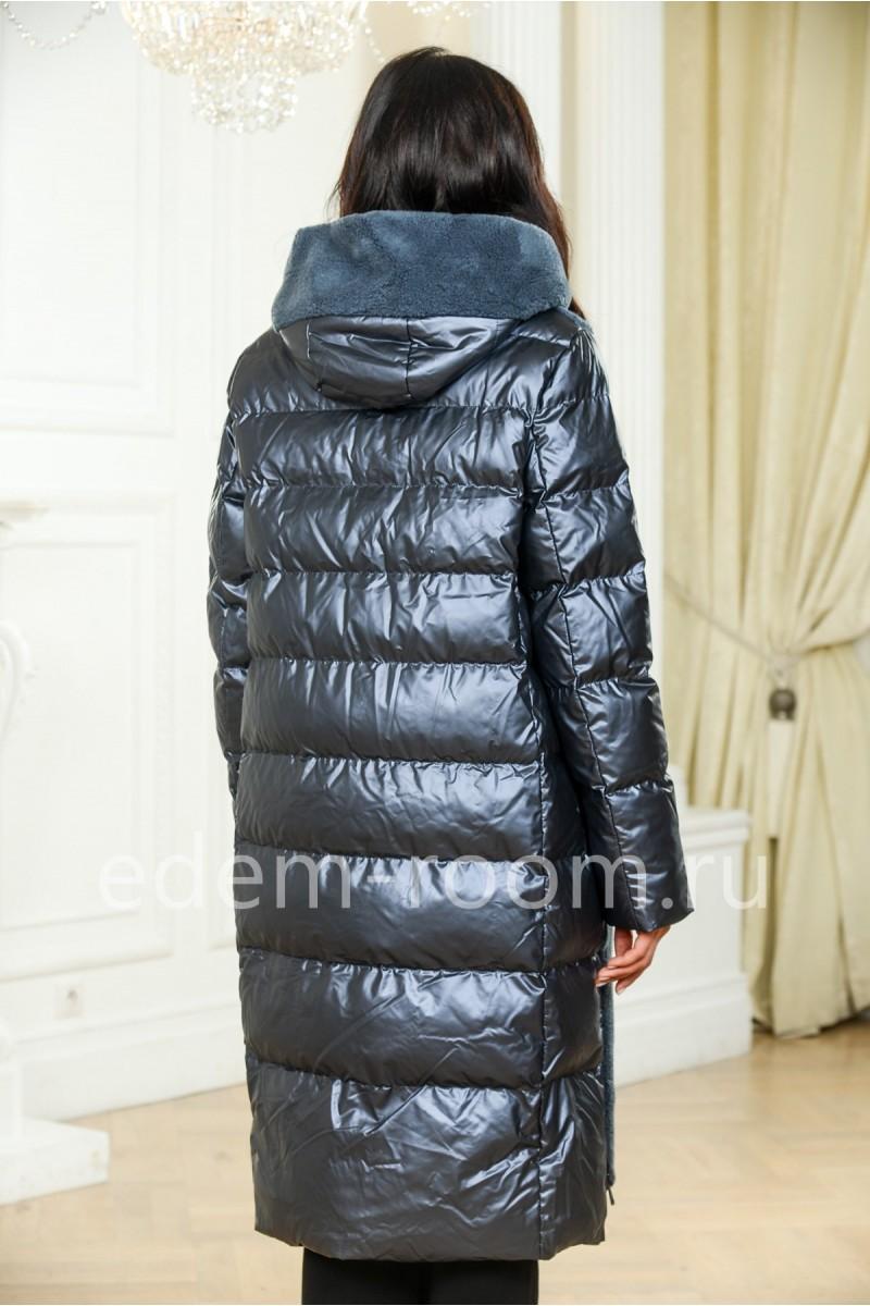 Пуховое пальто из шерсти
