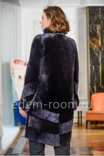 Модная мутоновая шуба в цвете черника