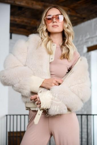 Кожаная куртка с мехом финского песца