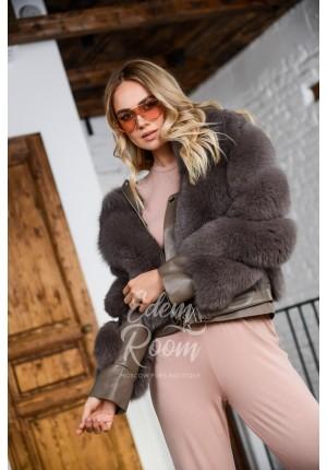 Молодёжная кожаная куртка с мехом песца
