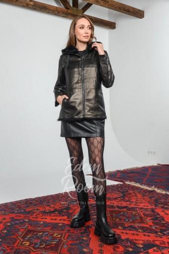 Зимняя куртка из кожи и меха