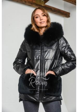 Кожаная куртка - пуховик с мехом