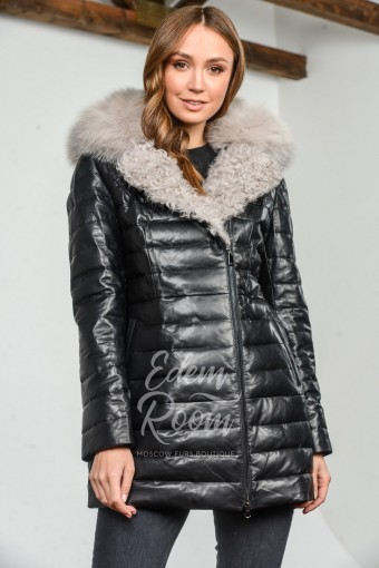Кожаная куртка - пуховик